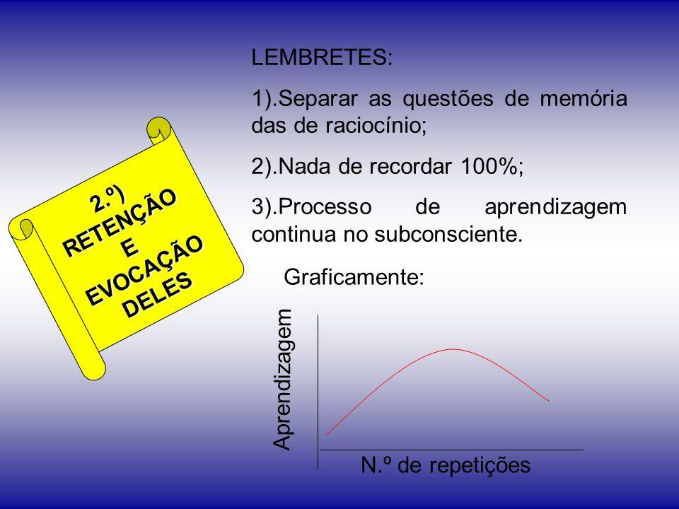 2.º)RETENÇÃOEEVOCAÇÃODELES LEMBRETES: 1).Separar as questões de memória das de raciocínio; 2).Nada de recordar 100%; 3).Processo de aprendizagem conti