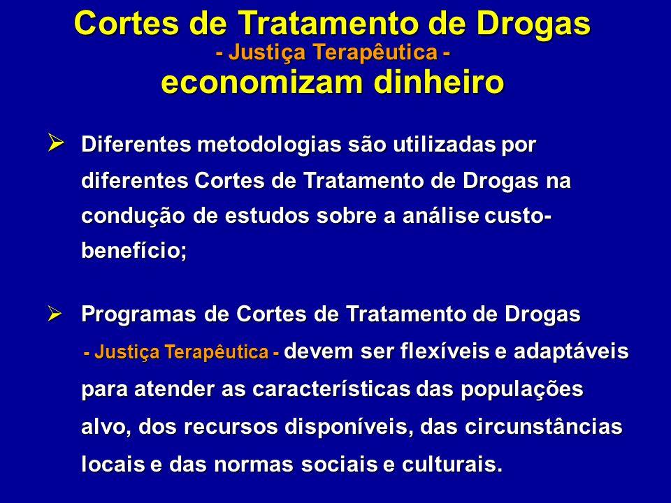 Cortes de Tratamento de Drogas - Justiça Terapêutica - economizam dinheiro Diferentes metodologias são utilizadas por diferentes Cortes de Tratamento