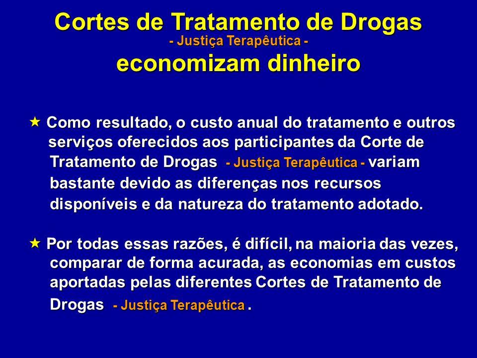 Cortes de Tratamento de Drogas - Justiça Terapêutica - economizam dinheiro Como resultado, o custo anual do tratamento e outros Como resultado, o cust