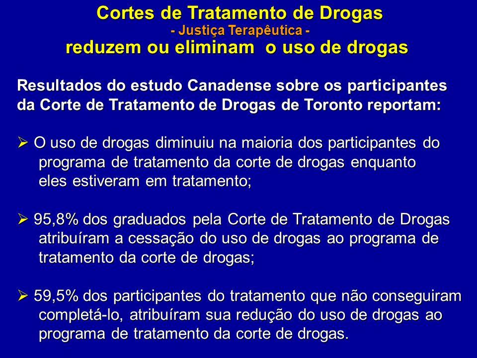 Cortes de Tratamento de Drogas - Justiça Terapêutica - reduzem ou eliminam o uso de drogas Resultados do estudo Canadense sobre os participantes da Co