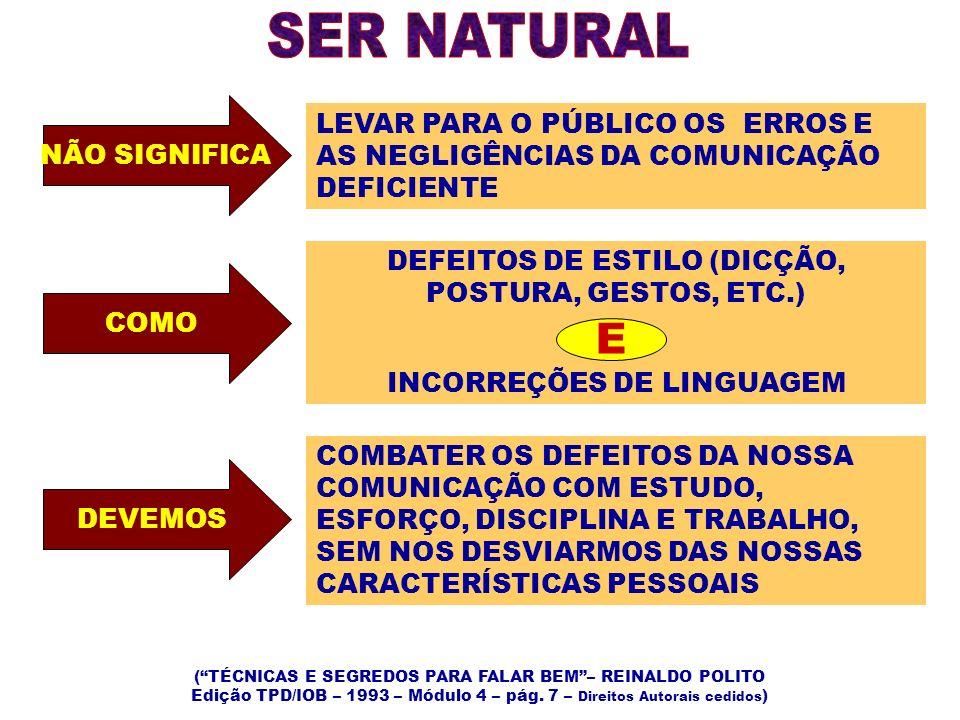 NÃO SIGNIFICA LEVAR PARA O PÚBLICO OS ERROS E AS NEGLIGÊNCIAS DA COMUNICAÇÃO DEFICIENTE COMO DEFEITOS DE ESTILO (DICÇÃO, POSTURA, GESTOS, ETC.) INCORR