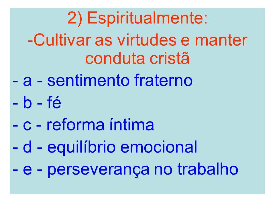2) Espiritualmente: -Cultivar as virtudes e manter conduta cristã - a - sentimento fraterno - b - fé - c - reforma íntima - d - equilíbrio emocional -