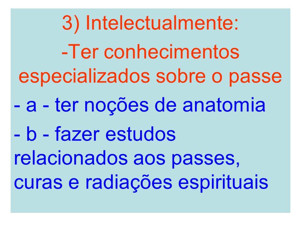 3) Intelectualmente: -Ter conhecimentos especializados sobre o passe - a - ter noções de anatomia - b - fazer estudos relacionados aos passes, curas e