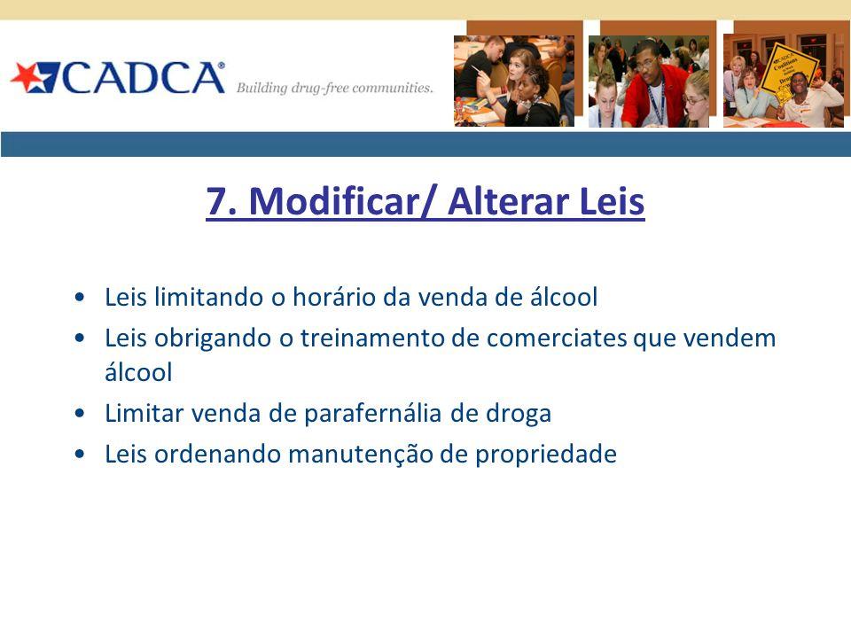 Leis limitando o horário da venda de álcool Leis obrigando o treinamento de comerciates que vendem álcool Limitar venda de parafernália de droga Leis ordenando manutenção de propriedade 7.