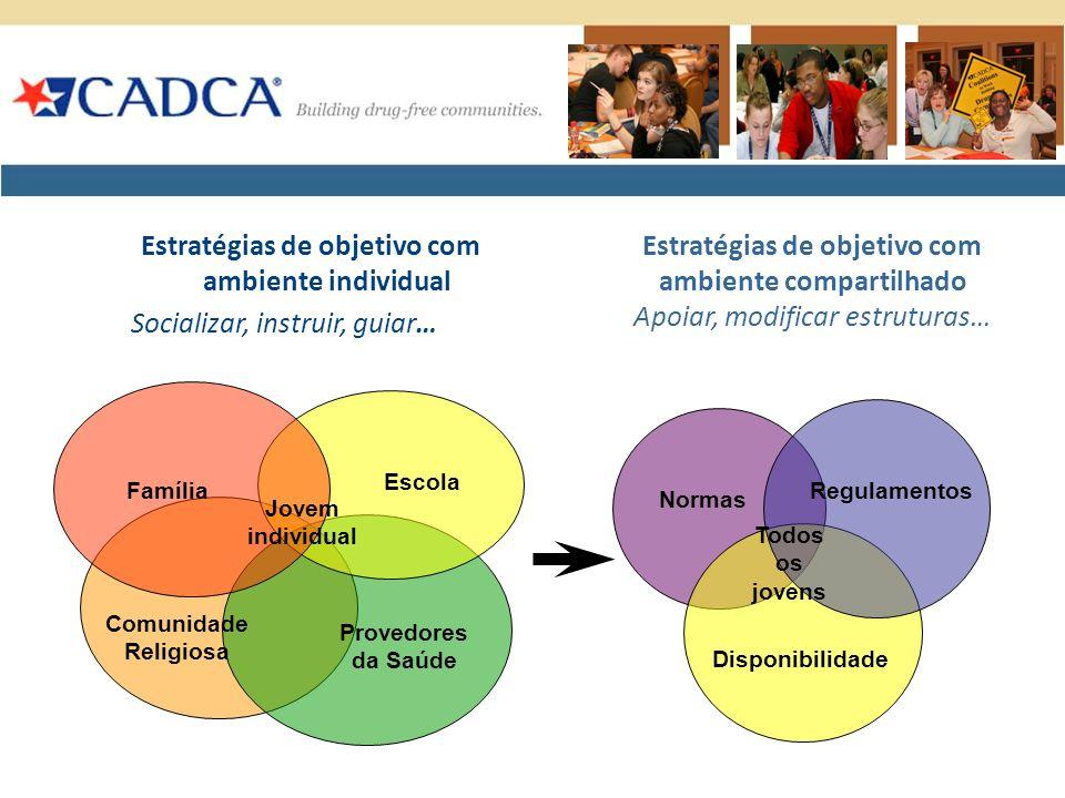 Estratégias de objetivo com ambiente individual Socializar, instruir, guiar… Família Escola Provedores da Saúde Jovem individual Comunidade Religiosa