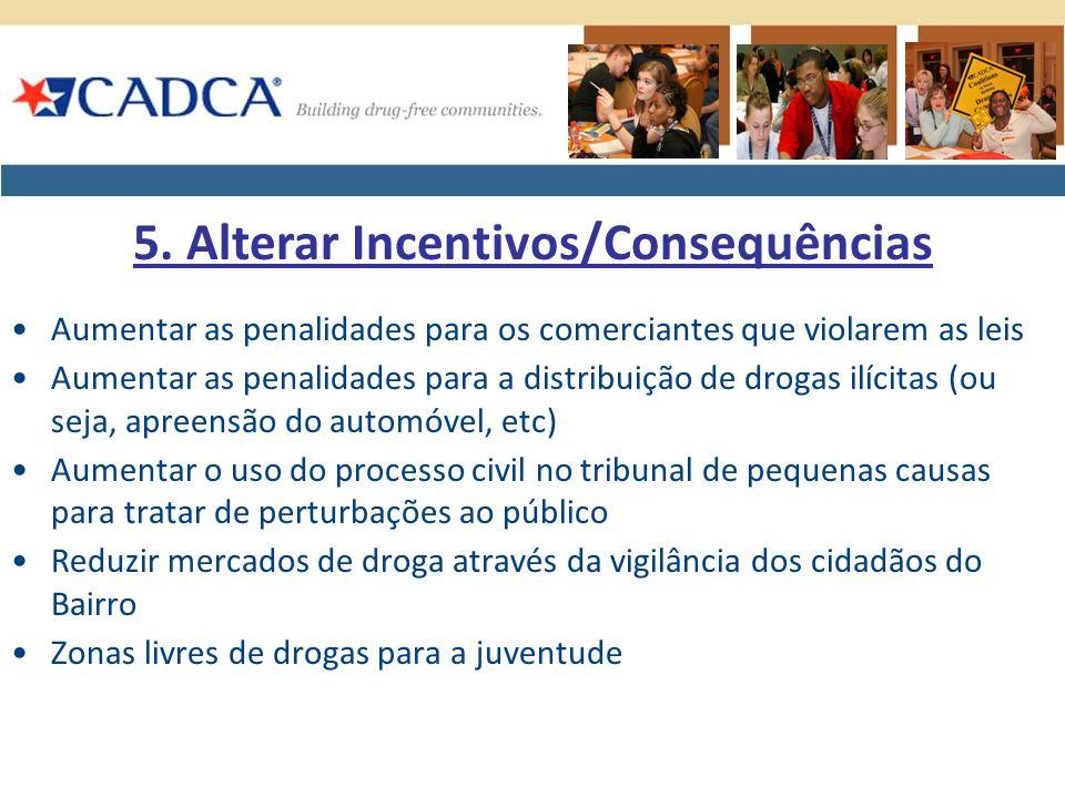 Aumentar as penalidades para os comerciantes que violarem as leis Aumentar as penalidades para a distribuição de drogas ilícitas (ou seja, apreensão d