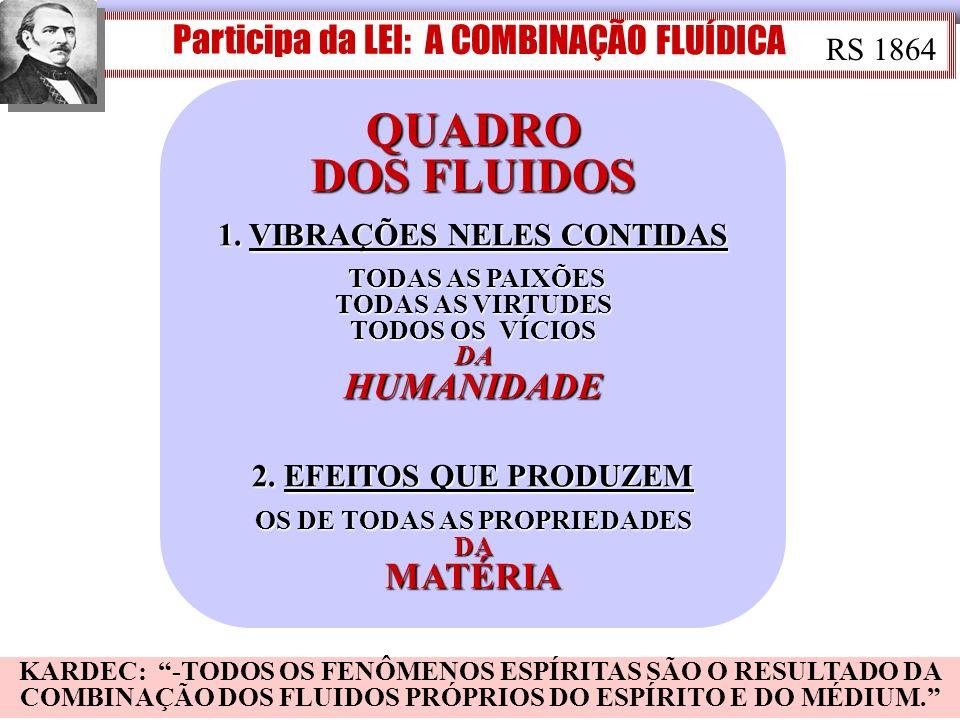 Participa da LEI: A COMBINAÇÃO FLUÍDICA RS 1864 QUADRO DOS FLUIDOS 1. VIBRAÇÕES NELES CONTIDAS TODAS AS PAIXÕES TODAS AS VIRTUDES TODOS OS VÍCIOS DA H