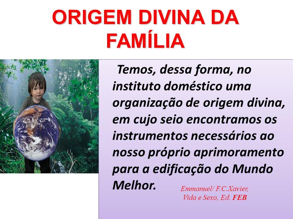 Temos, dessa forma, no instituto doméstico uma organização de origem divina, em cujo seio encontramos os instrumentos necessários ao nosso próprio apr