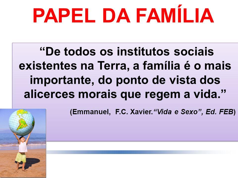 PAPEL DA FAMÍLIA De todos os institutos sociais existentes na Terra, a família é o mais importante, do ponto de vista dos alicerces morais que regem a
