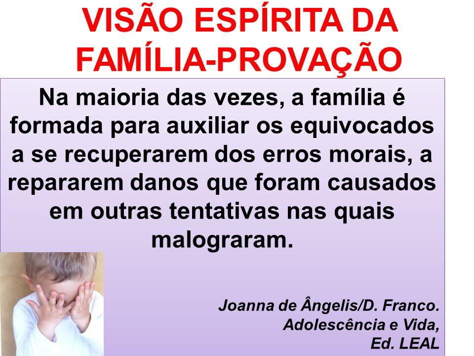 VISÃO ESPÍRITA DA FAMÍLIA-PROVAÇÃO Na maioria das vezes, a família é formada para auxiliar os equivocados a se recuperarem dos erros morais, a reparar
