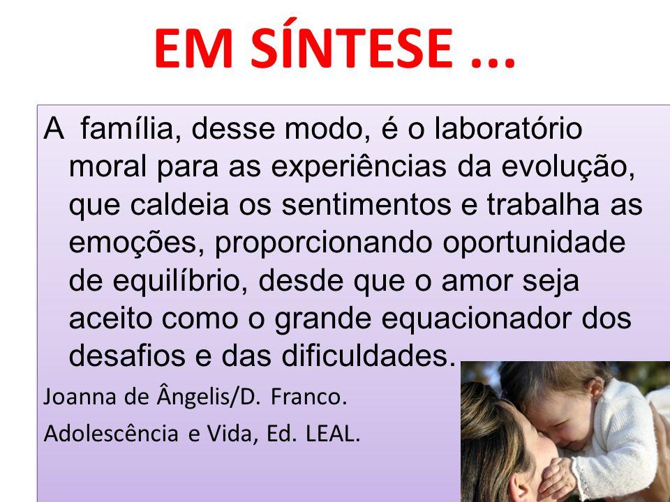 EM SÍNTESE... A família, desse modo, é o laboratório moral para as experiências da evolução, que caldeia os sentimentos e trabalha as emoções, proporc