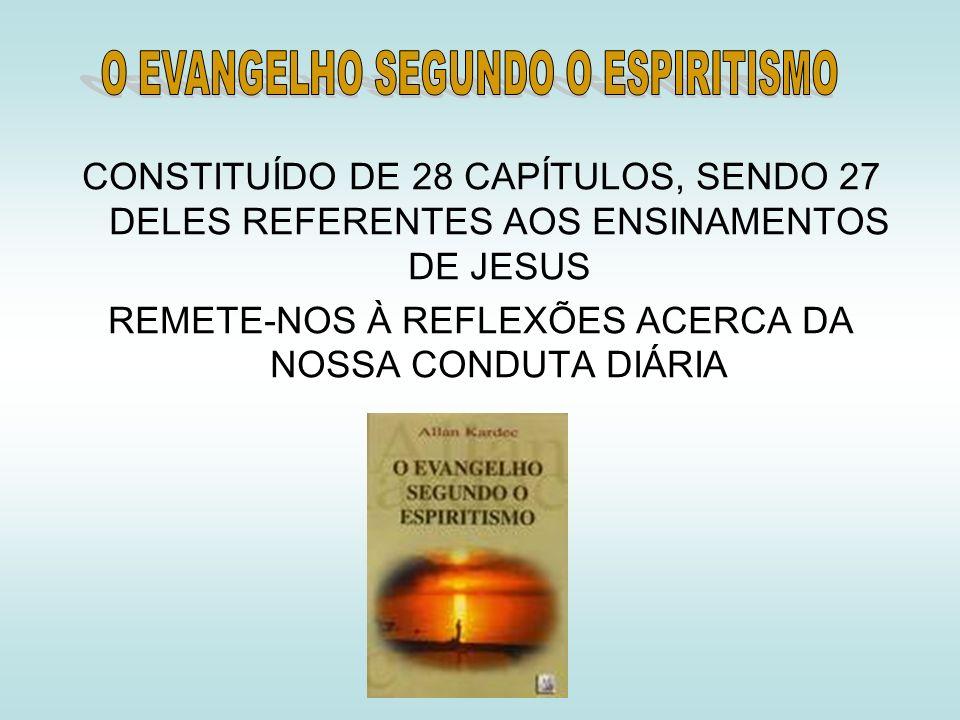 CONSTITUÍDO DE 28 CAPÍTULOS, SENDO 27 DELES REFERENTES AOS ENSINAMENTOS DE JESUS REMETE-NOS À REFLEXÕES ACERCA DA NOSSA CONDUTA DIÁRIA