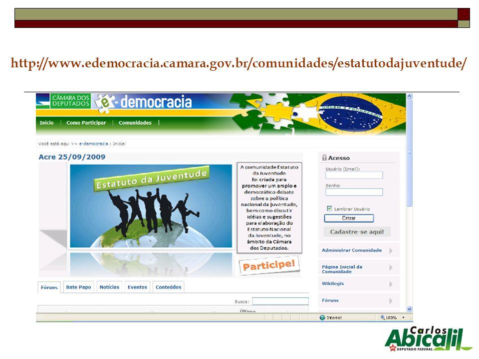 http://www.edemocracia.camara.gov.br/comunidades/estatutodajuventude/