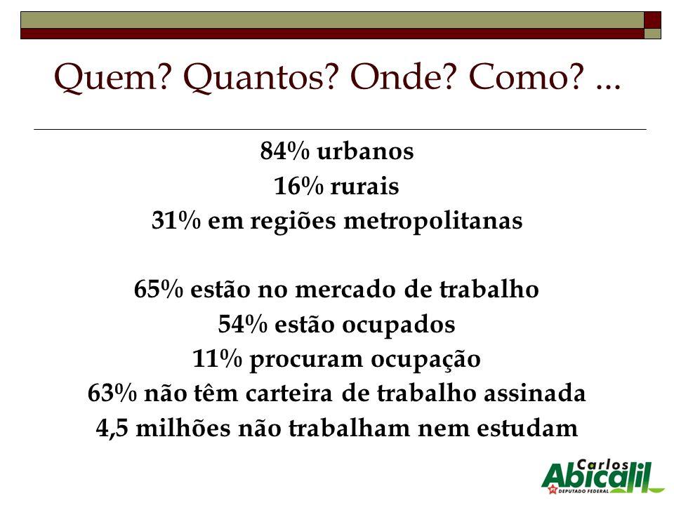 84% urbanos 16% rurais 31% em regiões metropolitanas 65% estão no mercado de trabalho 54% estão ocupados 11% procuram ocupação 63% não têm carteira de