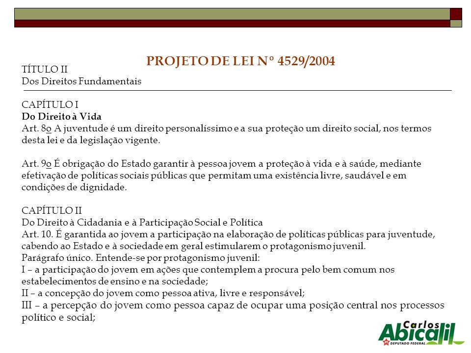PROJETO DE LEI Nº 4529/2004 TÍTULO II Dos Direitos Fundamentais CAPÍTULO I Do Direito à Vida Art. 8o A juventude é um direito personalíssimo e a sua p