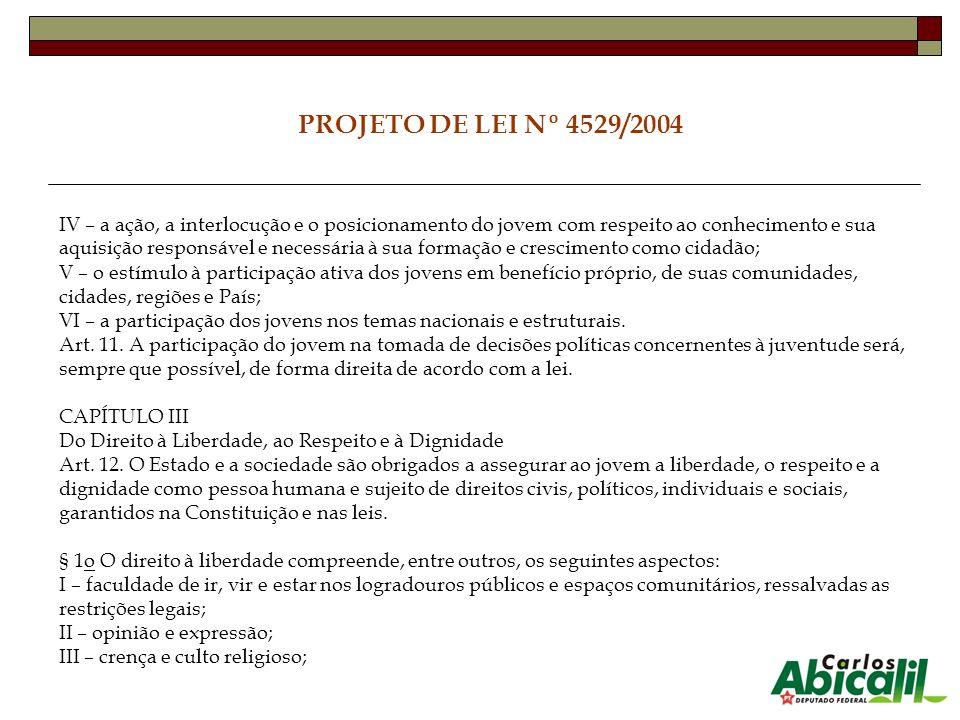 PROJETO DE LEI Nº 4529/2004 IV – a ação, a interlocução e o posicionamento do jovem com respeito ao conhecimento e sua aquisição responsável e necessá
