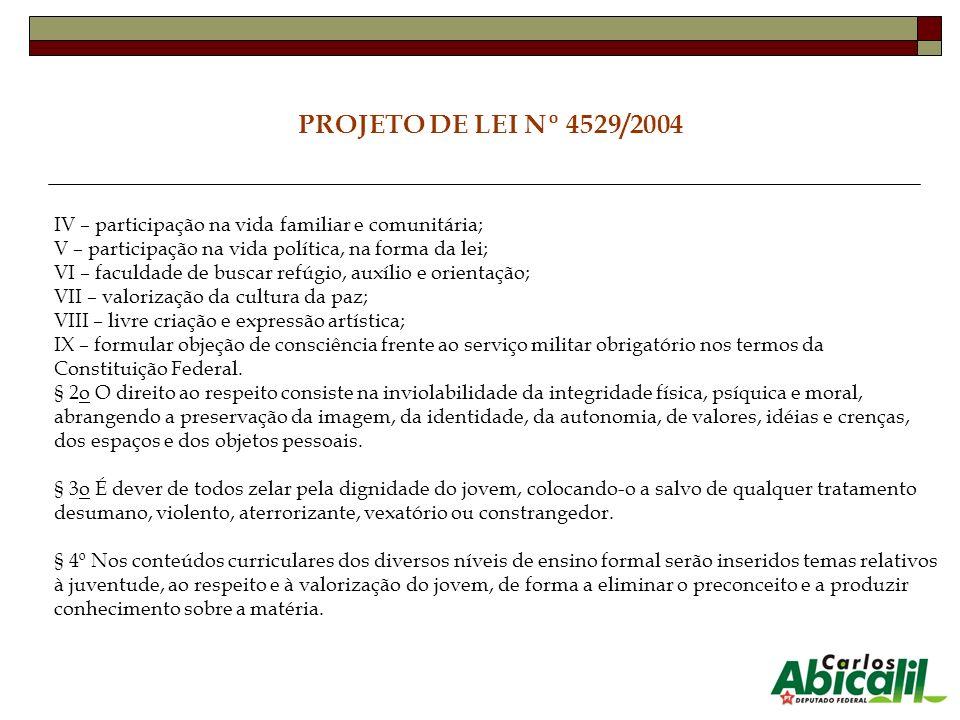 PROJETO DE LEI Nº 4529/2004 IV – participação na vida familiar e comunitária; V – participação na vida política, na forma da lei; VI – faculdade de bu