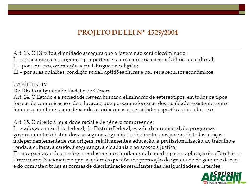PROJETO DE LEI Nº 4529/2004 Art. 13. O Direito à dignidade assegura que o jovem não será discriminado: I – por sua raça, cor, origem, e por pertencer
