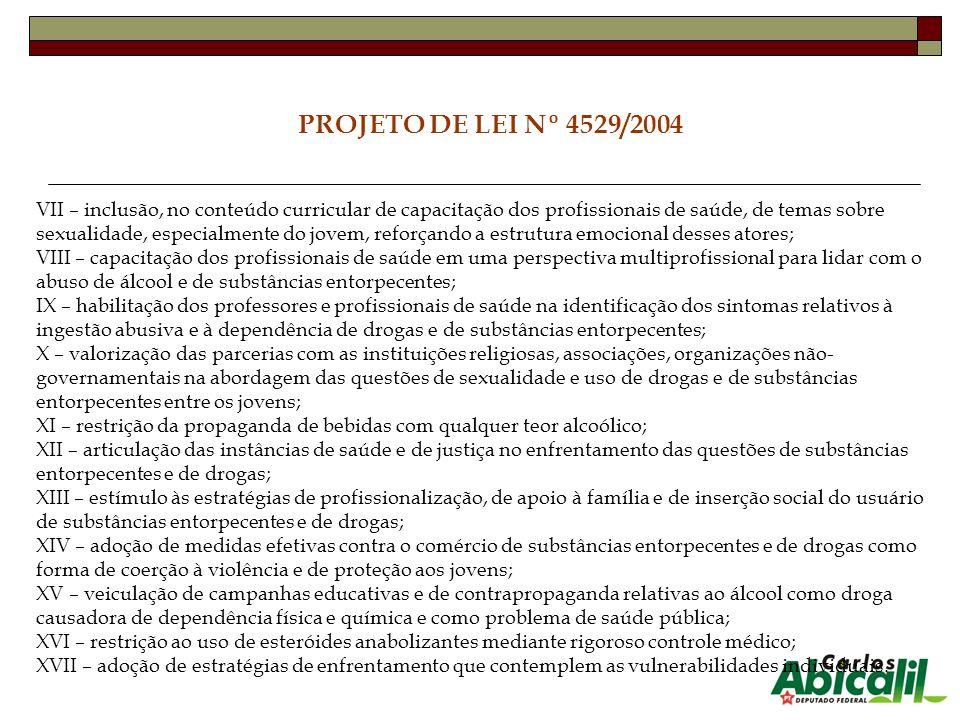 PROJETO DE LEI Nº 4529/2004 VII – inclusão, no conteúdo curricular de capacitação dos profissionais de saúde, de temas sobre sexualidade, especialment