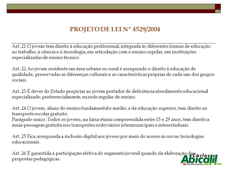 PROJETO DE LEI Nº 4529/2004 Art. 21 O jovem tem direito à educação profissional, integrada às diferentes formas de educação, ao trabalho, à ciência e