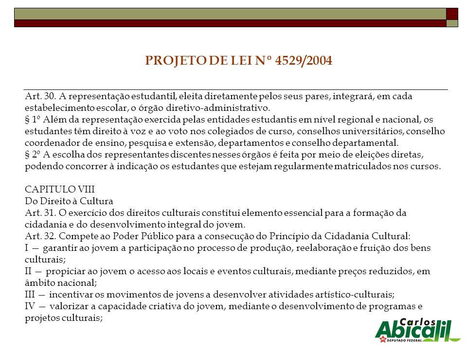 PROJETO DE LEI Nº 4529/2004 Art. 30. A representação estudantil, eleita diretamente pelos seus pares, integrará, em cada estabelecimento escolar, o ór