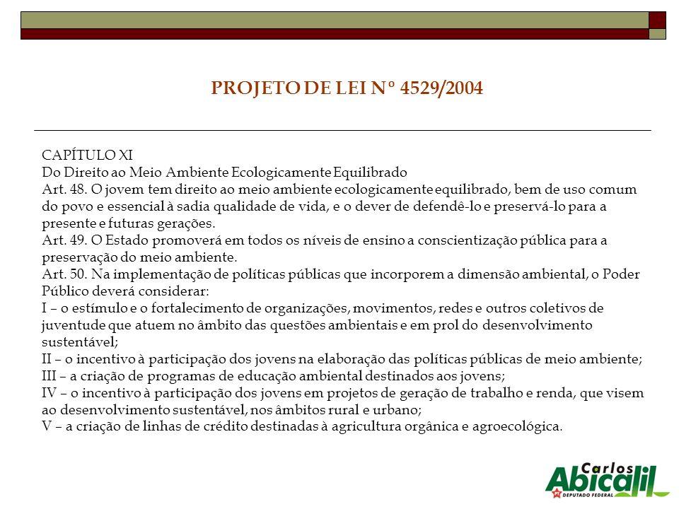 PROJETO DE LEI Nº 4529/2004 CAPÍTULO XI Do Direito ao Meio Ambiente Ecologicamente Equilibrado Art. 48. O jovem tem direito ao meio ambiente ecologica