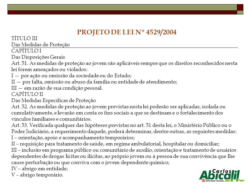 PROJETO DE LEI Nº 4529/2004 TÍTULO III Das Medidas de Proteção CAPÍTULO I Das Disposições Gerais Art. 51. As medidas de proteção ao jovem são aplicáve