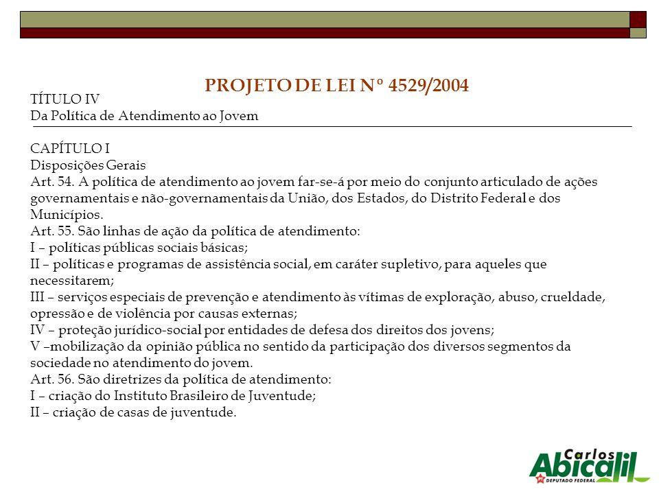 PROJETO DE LEI Nº 4529/2004 TÍTULO IV Da Política de Atendimento ao Jovem CAPÍTULO I Disposições Gerais Art. 54. A política de atendimento ao jovem fa