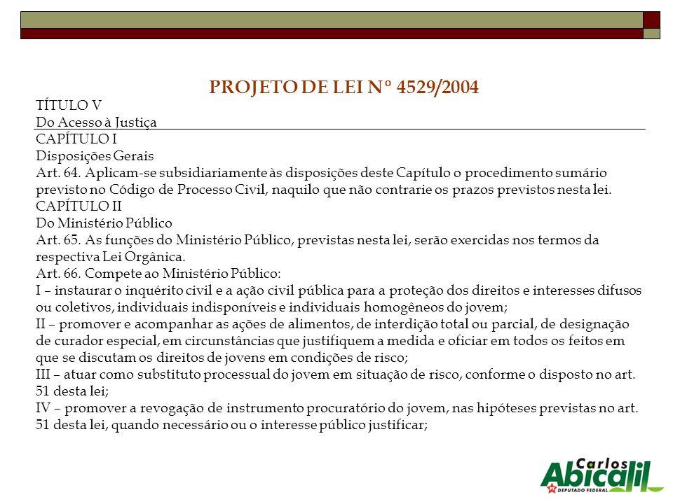 PROJETO DE LEI Nº 4529/2004 TÍTULO V Do Acesso à Justiça CAPÍTULO I Disposições Gerais Art. 64. Aplicam-se subsidiariamente às disposições deste Capít