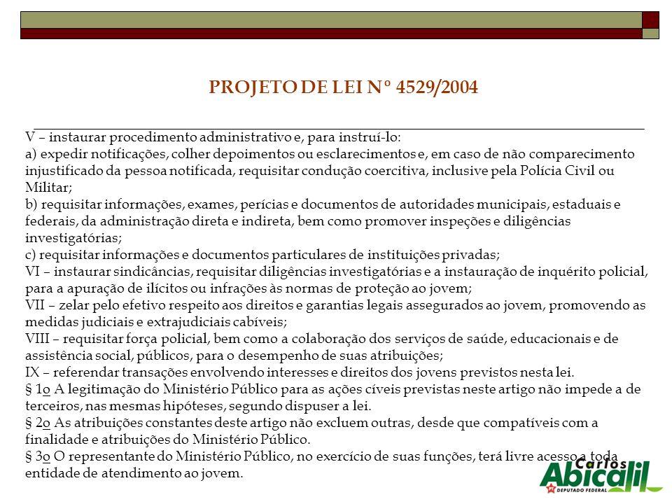 PROJETO DE LEI Nº 4529/2004 V – instaurar procedimento administrativo e, para instruí-lo: a) expedir notificações, colher depoimentos ou esclareciment