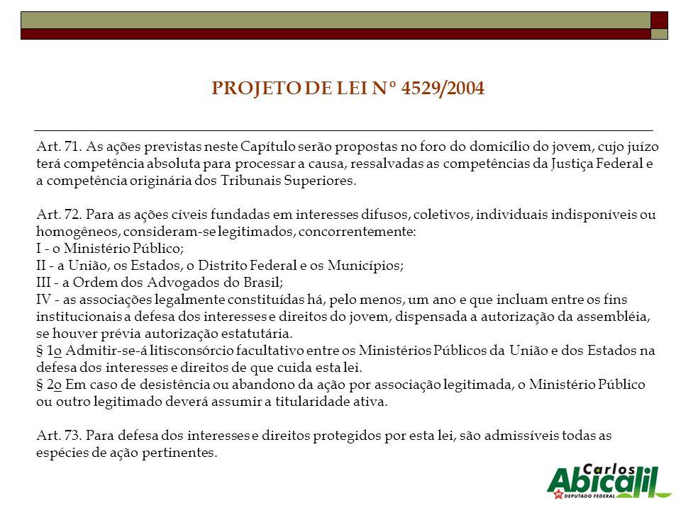 PROJETO DE LEI Nº 4529/2004 Art. 71. As ações previstas neste Capítulo serão propostas no foro do domicílio do jovem, cujo juízo terá competência abso