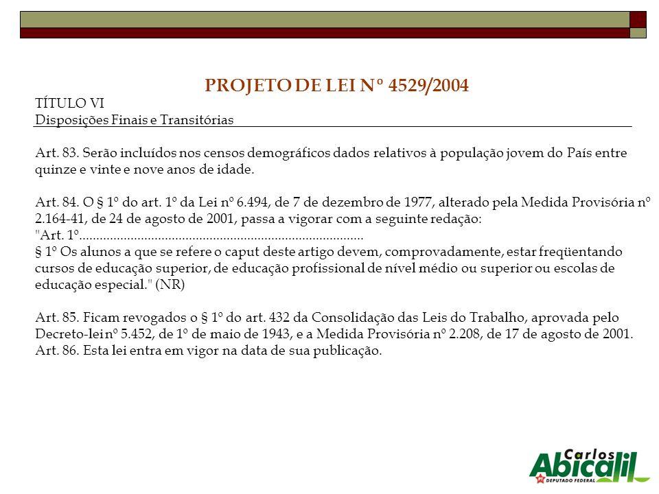PROJETO DE LEI Nº 4529/2004 TÍTULO VI Disposições Finais e Transitórias Art. 83. Serão incluídos nos censos demográficos dados relativos à população j