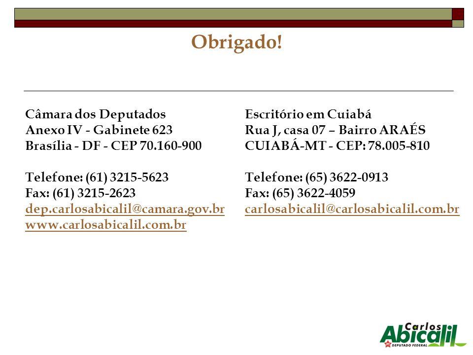 Obrigado! Câmara dos Deputados Anexo IV - Gabinete 623 Brasília - DF - CEP 70.160-900 Telefone: (61) 3215-5623 Fax: (61) 3215-2623 dep.carlosabicalil@