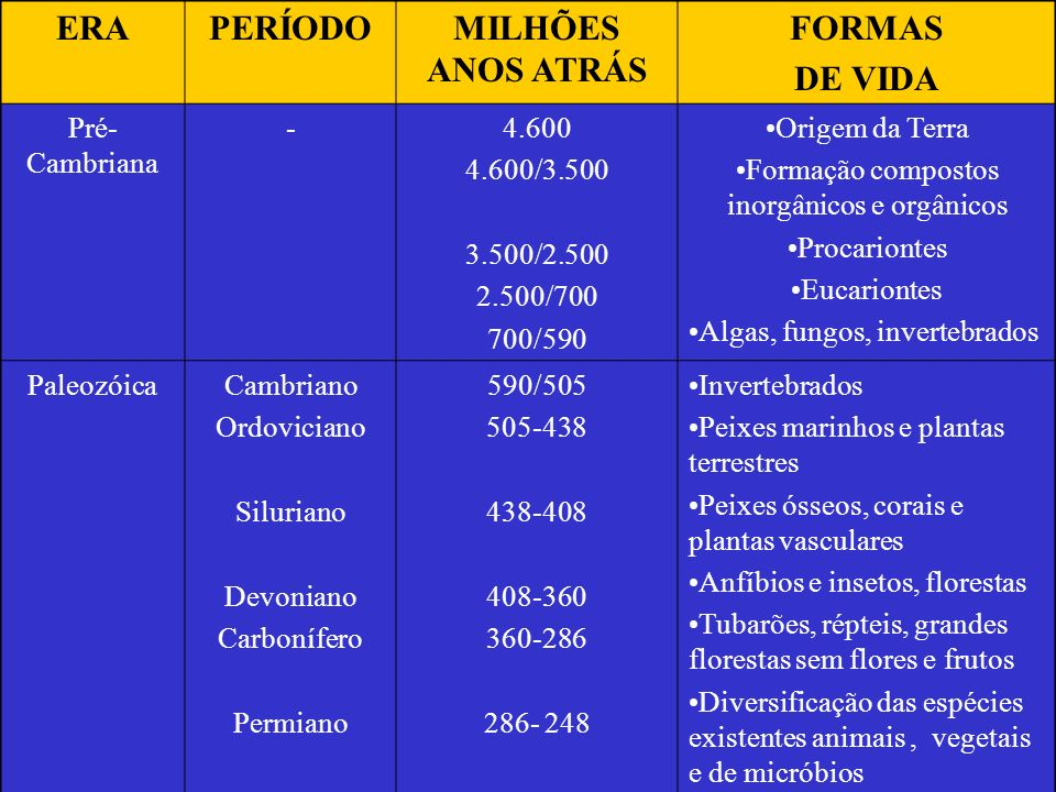ERAPERÍODOMILHÕES ANOS ATRÁS FORMAS DE VIDA Pré- Cambriana -4.600 4.600/3.500 3.500/2.500 2.500/700 700/590 Origem da Terra Formação compostos inorgân