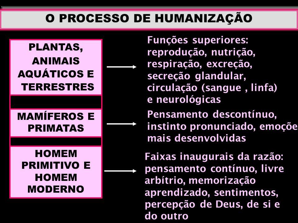 O PROCESSO DE HUMANIZAÇÃO PLANTAS, ANIMAIS AQUÁTICOS E TERRESTRES Funções superiores: reprodução, nutrição, respiração, excreção, secreção glandular,