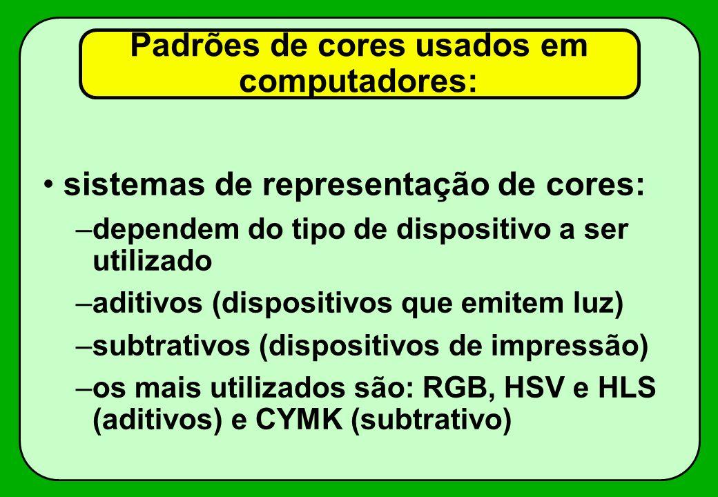Padrões de cores usados em computadores: sistemas de representação de cores: –dependem do tipo de dispositivo a ser utilizado –aditivos (dispositivos