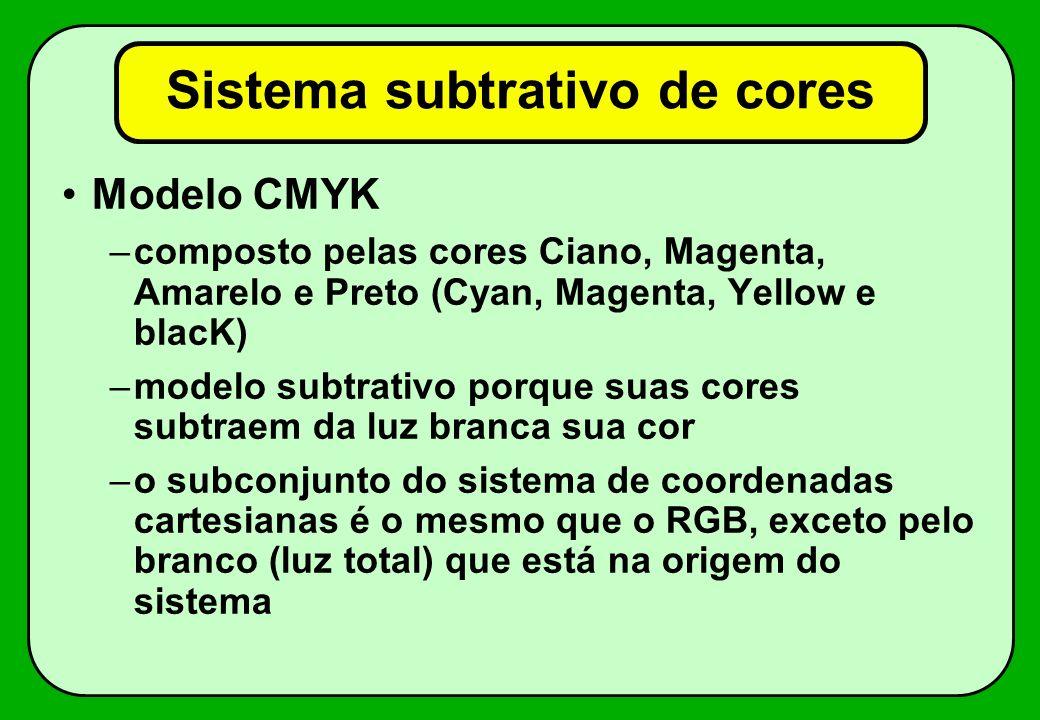 Modelo CMYK –composto pelas cores Ciano, Magenta, Amarelo e Preto (Cyan, Magenta, Yellow e blacK) –modelo subtrativo porque suas cores subtraem da luz