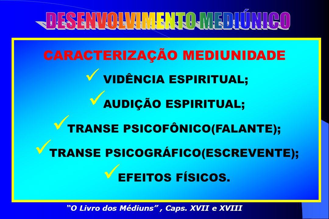 CONCEITO MEDIUNIDADE FACULDADE NATURAL QUE PERMITE SENTIR E TRANSMITIR A INFLUÊNCIA DOS ESPÍRITOS, ENSEJANDO O INTERCÂMBIO, A COMUNICAÇÃO, ENTRE O MUN