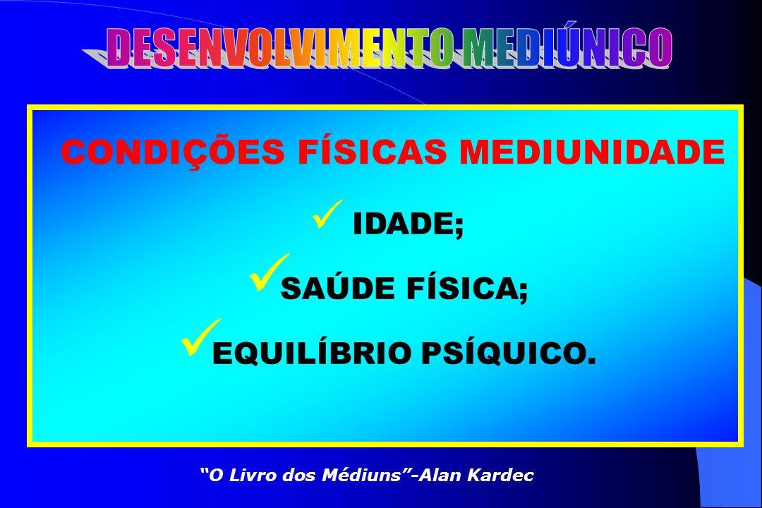 CARACTERIZAÇÃO MEDIUNIDADE VIDÊNCIA ESPIRITUAL; AUDIÇÃO ESPIRITUAL; TRANSE PSICOFÔNICO(FALANTE); TRANSE PSICOGRÁFICO(ESCREVENTE); EFEITOS FÍSICOS. O L