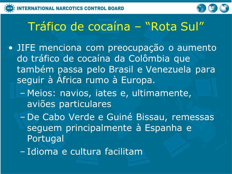 Tráfico de cocaína – Rota Sul JIFE menciona com preocupação o aumento do tráfico de cocaína da Colômbia que também passa pelo Brasil e Venezuela para