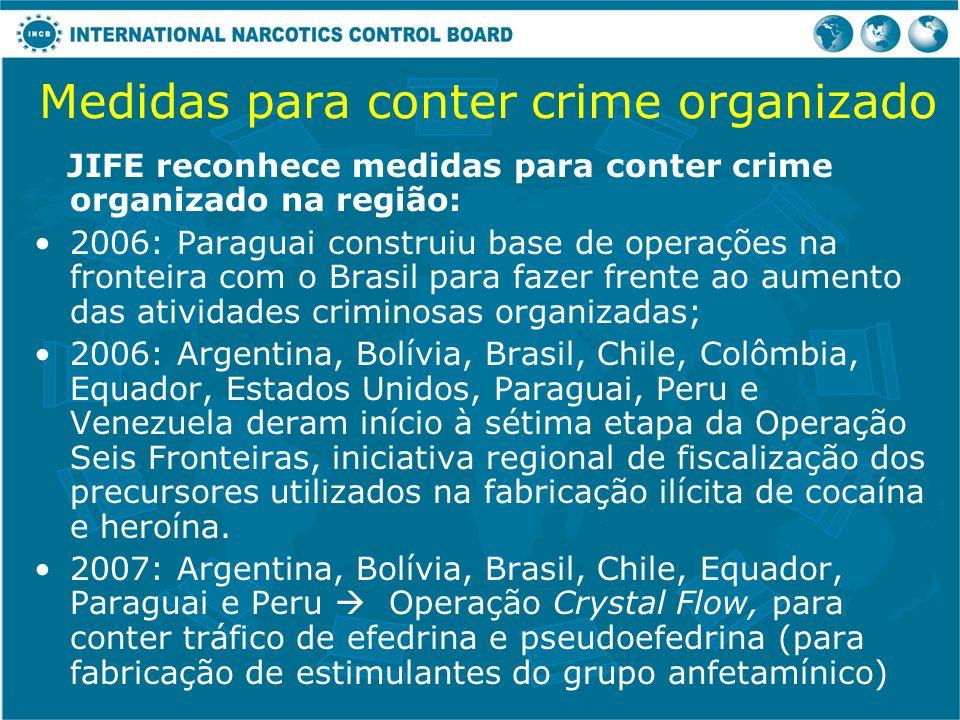 Medidas para conter crime organizado JIFE reconhece medidas para conter crime organizado na região: 2006: Paraguai construiu base de operações na fron