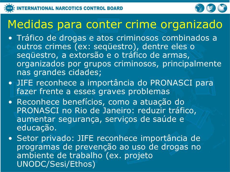 Medidas para conter crime organizado Tráfico de drogas e atos criminosos combinados a outros crimes (ex: seqüestro), dentre eles o seqüestro, a extors