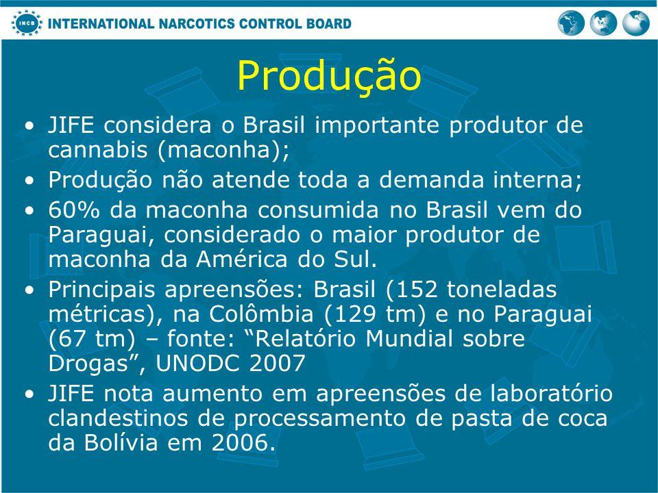 Produção JIFE considera o Brasil importante produtor de cannabis (maconha); Produção não atende toda a demanda interna; 60% da maconha consumida no Br