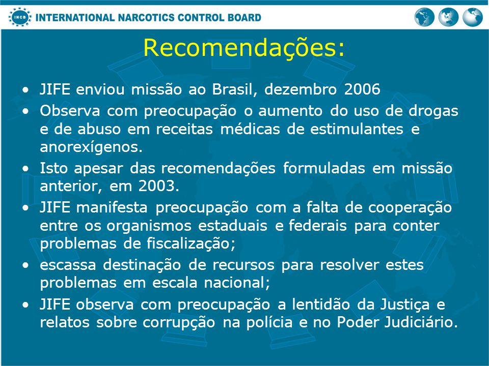Recomendações: JIFE enviou missão ao Brasil, dezembro 2006 Observa com preocupação o aumento do uso de drogas e de abuso em receitas médicas de estimu
