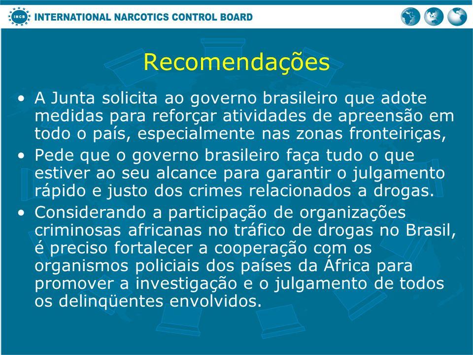 Recomendações A Junta solicita ao governo brasileiro que adote medidas para reforçar atividades de apreensão em todo o país, especialmente nas zonas f