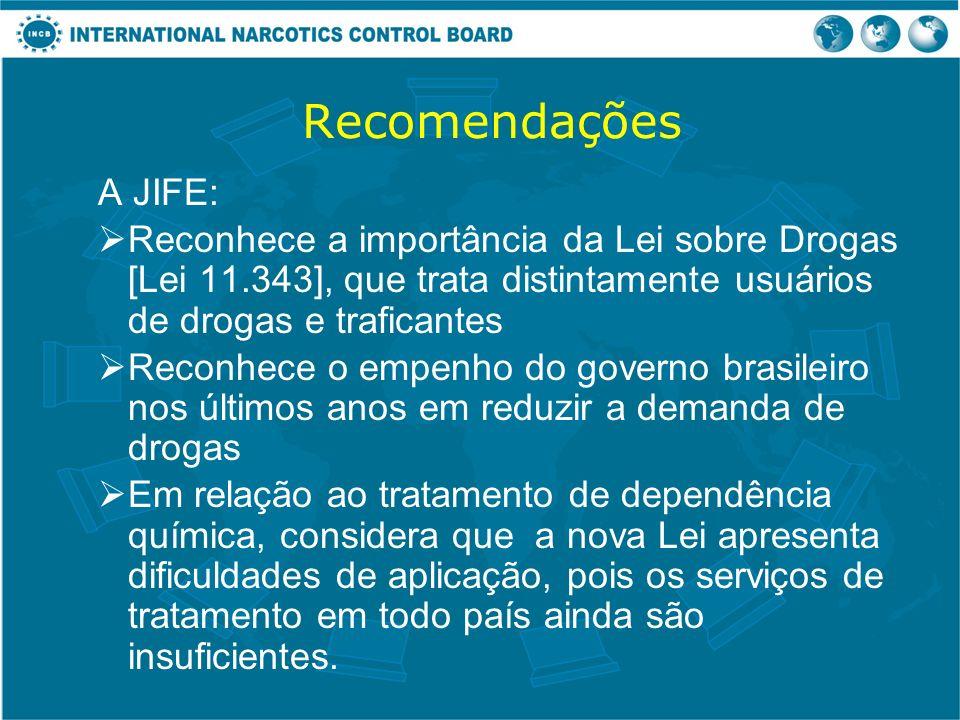 Recomendações A JIFE: Reconhece a importância da Lei sobre Drogas [Lei 11.343], que trata distintamente usuários de drogas e traficantes Reconhece o e
