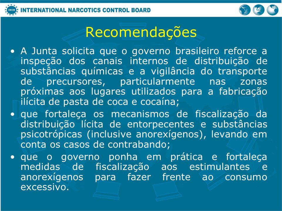 Recomendações A Junta solicita que o governo brasileiro reforce a inspeção dos canais internos de distribuição de substâncias químicas e a vigilância