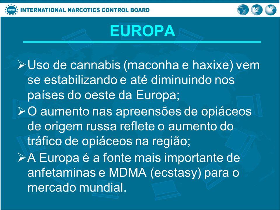 EUROPA Uso de cannabis (maconha e haxixe) vem se estabilizando e até diminuindo nos países do oeste da Europa; O aumento nas apreensões de opiáceos de