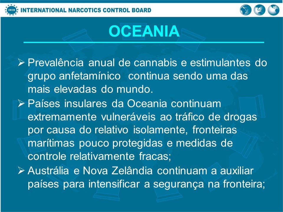 OCEANIA Prevalência anual de cannabis e estimulantes do grupo anfetamínico continua sendo uma das mais elevadas do mundo. Países insulares da Oceania