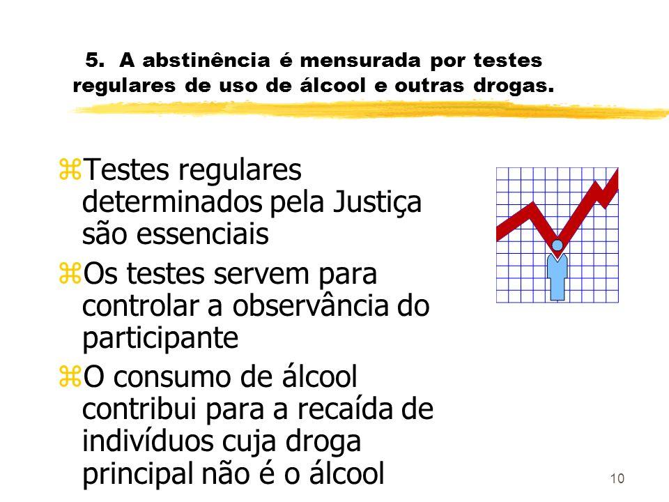 10 5.A abstinência é mensurada por testes regulares de uso de álcool e outras drogas.